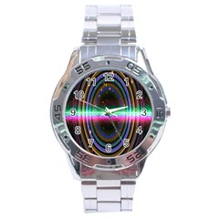 Spectrum Space Line Rainbow Hole Stainless Steel Analogue Watch