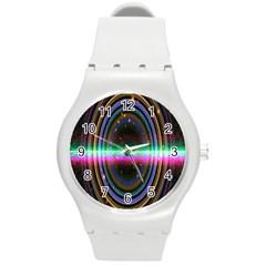 Spectrum Space Line Rainbow Hole Round Plastic Sport Watch (m)