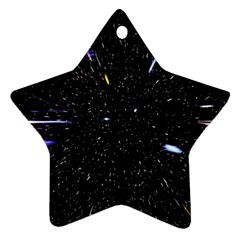 Space Warp Speed Hyperspace Through Starfield Nebula Space Star Hole Galaxy Ornament (star)