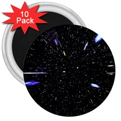 Space Warp Speed Hyperspace Through Starfield Nebula Space Star Hole Galaxy 3  Magnets (10 Pack)