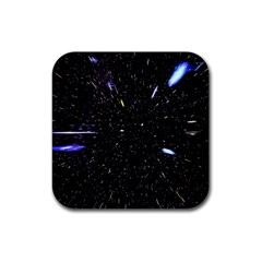 Space Warp Speed Hyperspace Through Starfield Nebula Space Star Hole Galaxy Rubber Coaster (square)
