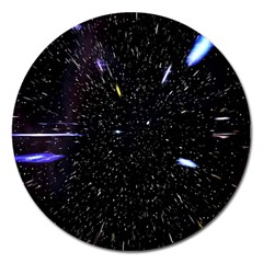 Space Warp Speed Hyperspace Through Starfield Nebula Space Star Hole Galaxy Magnet 5  (round)