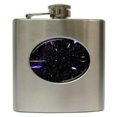Space Warp Speed Hyperspace Through Starfield Nebula Space Star Hole Galaxy Hip Flask (6 Oz)