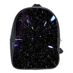 Space Warp Speed Hyperspace Through Starfield Nebula Space Star Hole Galaxy School Bag (large)