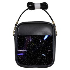 Space Warp Speed Hyperspace Through Starfield Nebula Space Star Hole Galaxy Girls Sling Bags