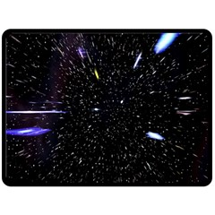 Space Warp Speed Hyperspace Through Starfield Nebula Space Star Hole Galaxy Double Sided Fleece Blanket (large)