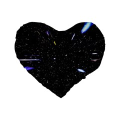 Space Warp Speed Hyperspace Through Starfield Nebula Space Star Hole Galaxy Standard 16  Premium Flano Heart Shape Cushions