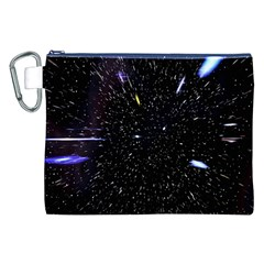 Space Warp Speed Hyperspace Through Starfield Nebula Space Star Hole Galaxy Canvas Cosmetic Bag (xxl)