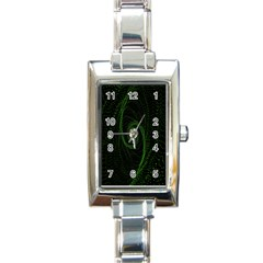 Space Green Hypnotizing Tunnel Animation Hole Polka Green Rectangle Italian Charm Watch
