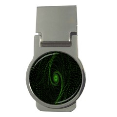 Space Green Hypnotizing Tunnel Animation Hole Polka Green Money Clips (round)