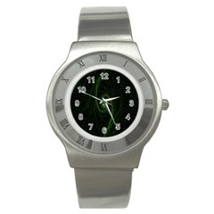 Space Green Hypnotizing Tunnel Animation Hole Polka Green Stainless Steel Watch
