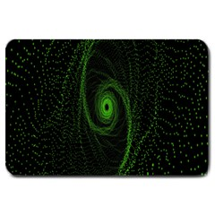 Space Green Hypnotizing Tunnel Animation Hole Polka Green Large Doormat