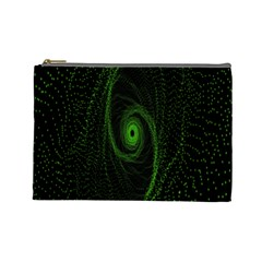 Space Green Hypnotizing Tunnel Animation Hole Polka Green Cosmetic Bag (large)