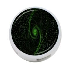 Space Green Hypnotizing Tunnel Animation Hole Polka Green 4 Port Usb Hub (one Side)