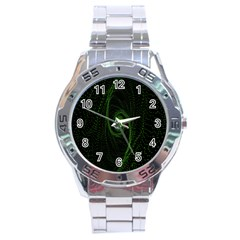 Space Green Hypnotizing Tunnel Animation Hole Polka Green Stainless Steel Analogue Watch