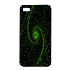 Space Green Hypnotizing Tunnel Animation Hole Polka Green Apple Iphone 4/4s Seamless Case (black)