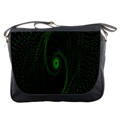 Space Green Hypnotizing Tunnel Animation Hole Polka Green Messenger Bags