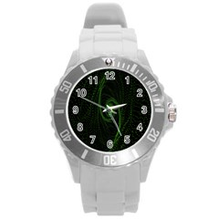 Space Green Hypnotizing Tunnel Animation Hole Polka Green Round Plastic Sport Watch (l)