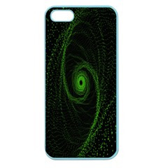 Space Green Hypnotizing Tunnel Animation Hole Polka Green Apple Seamless Iphone 5 Case (color)