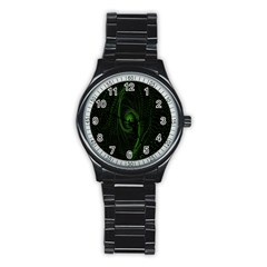 Space Green Hypnotizing Tunnel Animation Hole Polka Green Stainless Steel Round Watch