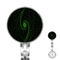 Space Green Hypnotizing Tunnel Animation Hole Polka Green Stainless Steel Nurses Watch