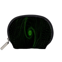 Space Green Hypnotizing Tunnel Animation Hole Polka Green Accessory Pouches (small)