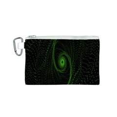 Space Green Hypnotizing Tunnel Animation Hole Polka Green Canvas Cosmetic Bag (s)