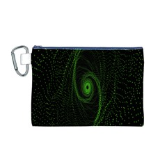 Space Green Hypnotizing Tunnel Animation Hole Polka Green Canvas Cosmetic Bag (m)