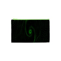 Space Green Hypnotizing Tunnel Animation Hole Polka Green Cosmetic Bag (xs)