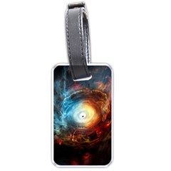 Supermassive Black Hole Galaxy Is Hidden Behind Worldwide Network Luggage Tags (one Side)