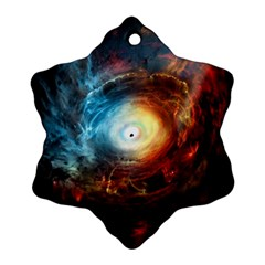 Supermassive Black Hole Galaxy Is Hidden Behind Worldwide Network Snowflake Ornament (two Sides)
