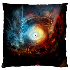 Supermassive Black Hole Galaxy Is Hidden Behind Worldwide Network Large Cushion Case (one Side)