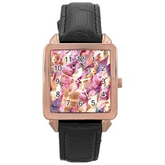 Stone Spot Triangle Rose Gold Leather Watch