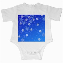 Winter Blue Snowflakes Rain Cool Infant Creepers