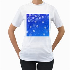 Winter Blue Snowflakes Rain Cool Women s T Shirt (white) (two Sided)