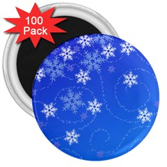Winter Blue Snowflakes Rain Cool 3  Magnets (100 Pack)