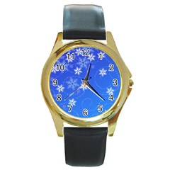 Winter Blue Snowflakes Rain Cool Round Gold Metal Watch