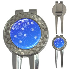 Winter Blue Snowflakes Rain Cool 3 In 1 Golf Divots