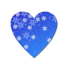 Winter Blue Snowflakes Rain Cool Heart Magnet