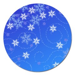 Winter Blue Snowflakes Rain Cool Magnet 5  (round)
