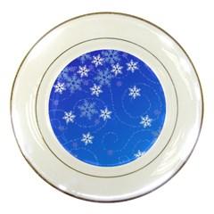 Winter Blue Snowflakes Rain Cool Porcelain Plates