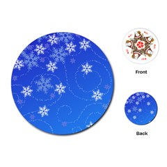 Winter Blue Snowflakes Rain Cool Playing Cards (round)