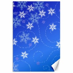 Winter Blue Snowflakes Rain Cool Canvas 24  X 36