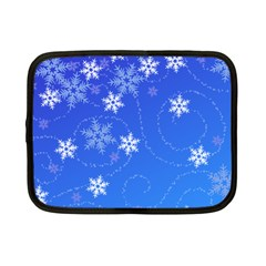 Winter Blue Snowflakes Rain Cool Netbook Case (small)