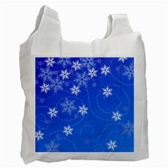 Winter Blue Snowflakes Rain Cool Recycle Bag (one Side)