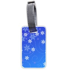 Winter Blue Snowflakes Rain Cool Luggage Tags (one Side)
