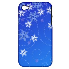Winter Blue Snowflakes Rain Cool Apple Iphone 4/4s Hardshell Case (pc+silicone)