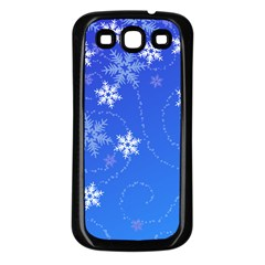 Winter Blue Snowflakes Rain Cool Samsung Galaxy S3 Back Case (black)