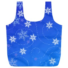 Winter Blue Snowflakes Rain Cool Full Print Recycle Bags (l)