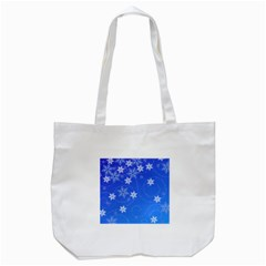 Winter Blue Snowflakes Rain Cool Tote Bag (white)